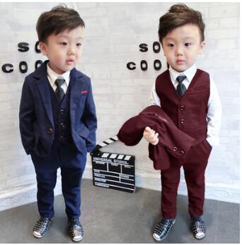 2017 spring autumn baby suit girl dress set childrens gentleman wedding suit suit suit boys suit jacket + vest + pants 3PCS <br>