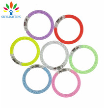 50pcs/lot colorful changing LED bracelet Light up Bracelet flashing Acrylic glowing bracelet toys party decoration supplies