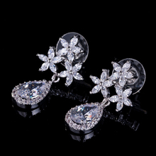 wedding Luxury Bar Setting Top Class Plant water Drop  Flower White Cubic Zirconia Stone Earrings For bridal Women Fashion