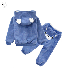 BINIDUCKLING Baby Sports Suit Jacket Sweater Coat+Pants Thicken Kids Clothes Set Hot Sell Boys Girls Children Winter Wool Sherpa(China)