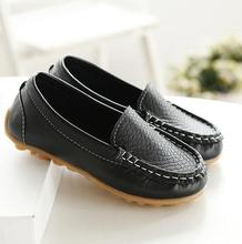 New Leather Children Shoes Boys Loafers Black Spring Leather School Sneakers Kids Child Wedding Shoes(China)