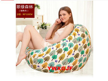 Living Room The Green Forest Lazy Beanbag Canvas Cloth Art Sofa Single Creative Gifts Dazzle Colour Geometry 90X110CM