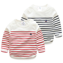 Toddler Boys Long Sleeve T-shirt Spring Autumn 2T 3T 4T 5 6 7 8 9 Kids Stripe T-shirt Children's Clothing Casual Top New Arrival(China)