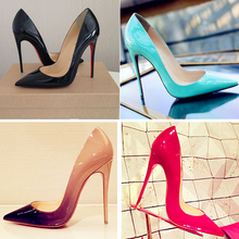 Top Quality Women Pumps Cow Muscle Red Bottom High Heels Sexy Pointed Toe Red Sole Wedding Shoes Size 12 heels Plus Size 35-41