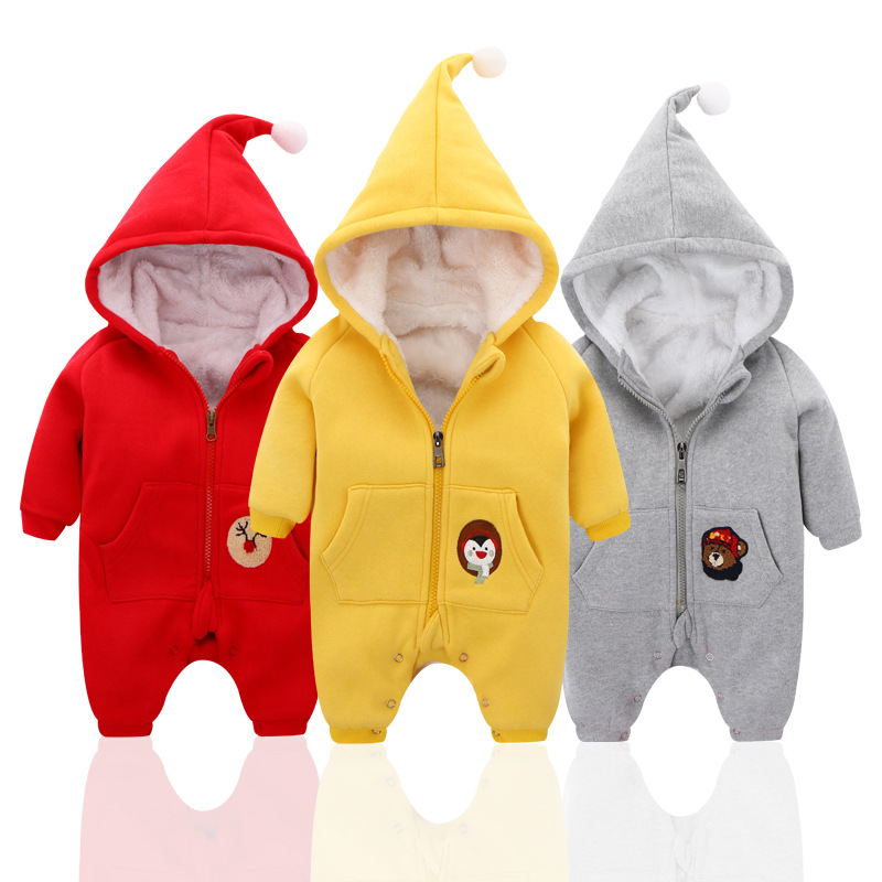 New Born Baby Cotton Hooded Jumpsuit Winter Warm Thicken Romper with Velvet  Kids  Clothes<br><br>Aliexpress