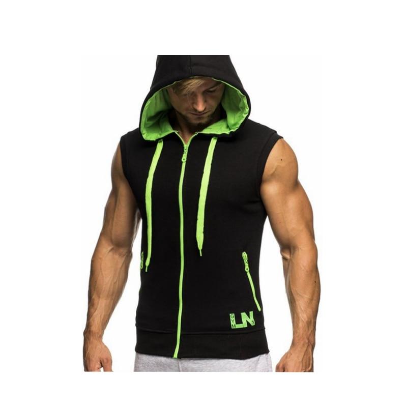 Male Bodybuilding Hoodies Fitness Clothes Hoody Cotton Hoodie Men Sweatshirts Men's Sleeveless Tank Tops Casual Vest 9