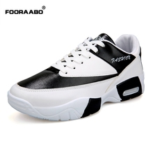 Fooraabo Brand Mens Shoes Casual Leather Sneakers Shoes For Men Lace-up Zapatillas Hombre Fashion Shoe Male 2017 Tenis Masculino(China)