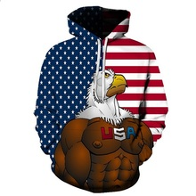 Sweatshirts Hooded Men/Women Hoodies With American Flag Eagle Printing Autumn Winter Loose Thin Space Hoody Tops(China)