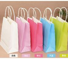 10PCS/lot Kraft paper bag with handles 21x15x8cm sweet color Festival gift bag for wedding birthday party jewelry paper bags