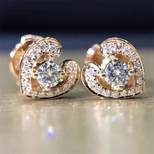 LASAMERO 0.2CTW 18K Yellow Gold Round Cut Natural Diamond Heart Design Cluster Earrings Stud Earrings Fine Jewelry Earring Studs(China)
