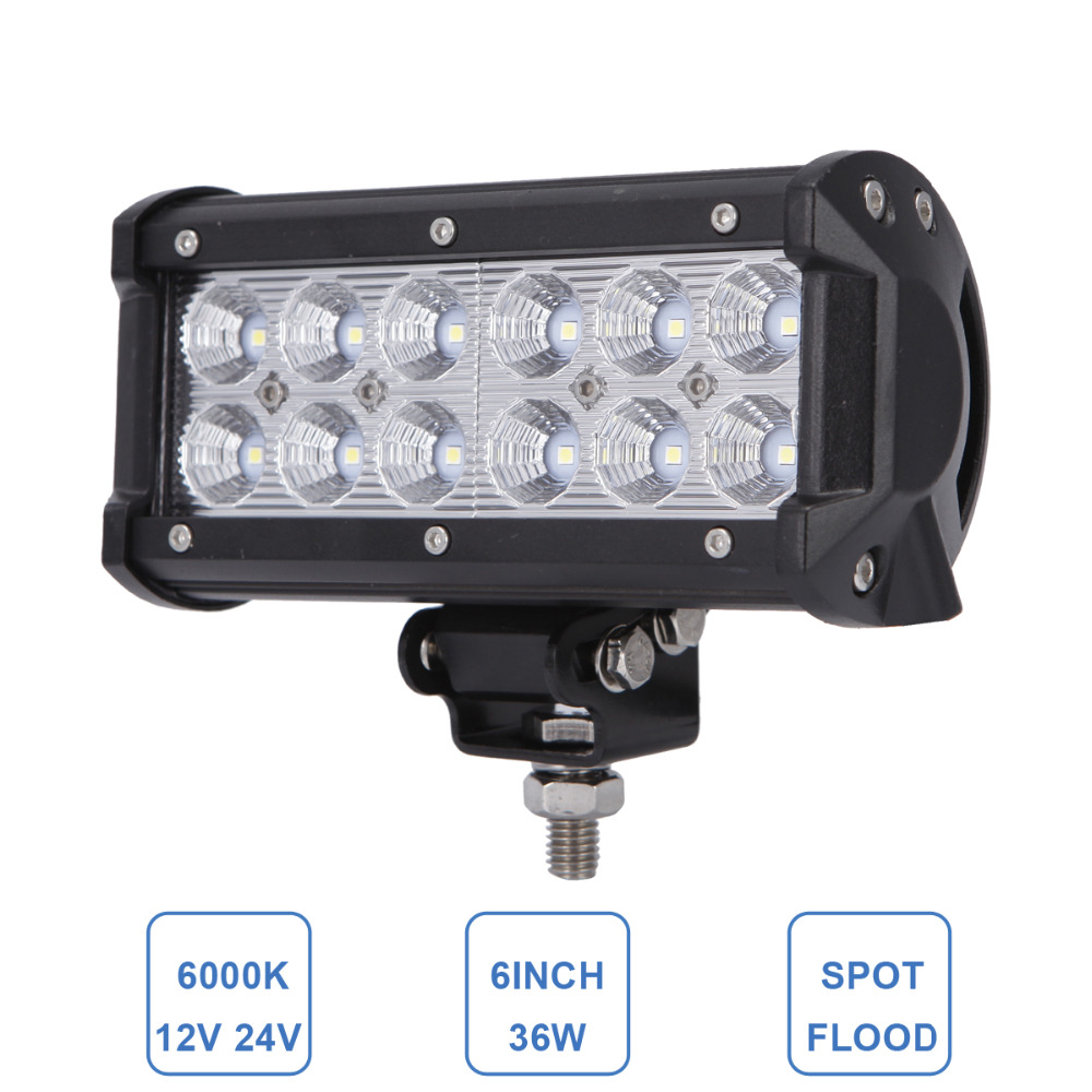 7 Inch Offroad 36W LED Work Light Bar Motorcycle Tractor Boat Car Wagon 4WD 4x4 Truck SUV ATV Trailer AWD RZR Headlight Fog Lamp<br><br>Aliexpress