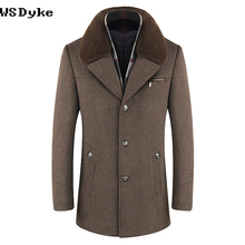 2017 Autumn Winter New Arrival Medium Long Redingote Homme Thick Warm Detachable Scarf Mens Wool Coats And Jackets