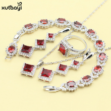 XUTAAYI 925 Silver Jewelry Sets Red Synthetic Garnet Superb Necklace/Rings/Earrings/Bracelet For women Free Gift(China)