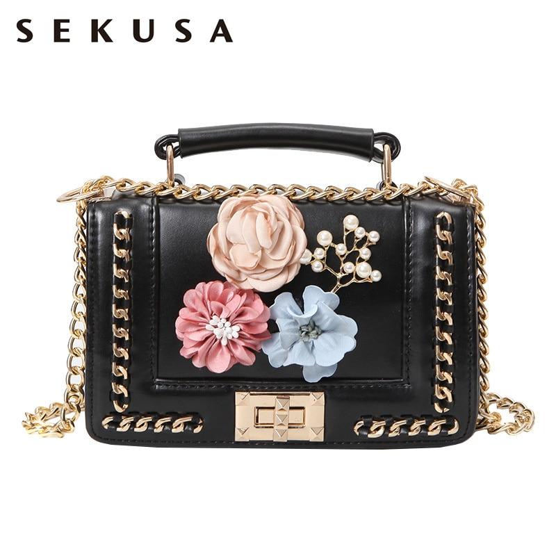 SEKUSA Flower Beaded Pu Women Handbags Chain Shoulder Leather Fashion Cover Lock Pocket Purse Crossbody Messenger Bag<br>