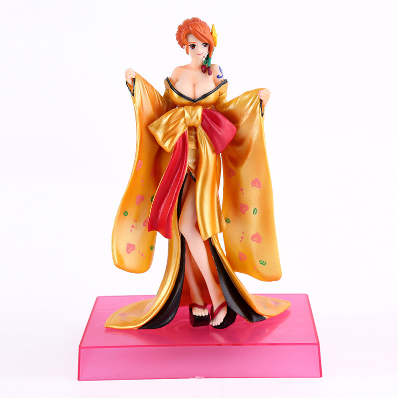 2 Styles 19CM One Piece Nami Kimono PVC Action Figure Japanese Anime Nami Sexy Gold Kimono Model Toy Figurine brinquedos SS0065<br>