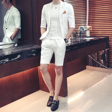 White Mens Suits Blazer With Pants 2017 Summer Mens Italian Suits Blue Korean Suits for Mens Social Club Outfits Terno Slim Fit(China)