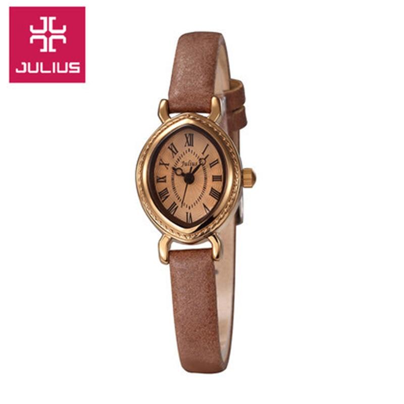Top Woman Ladys Wrist Watch Japan Quartz Hours Best Fashion Bracelet Band Leather Clock Oval Retro Gift julius JA-567<br><br>Aliexpress