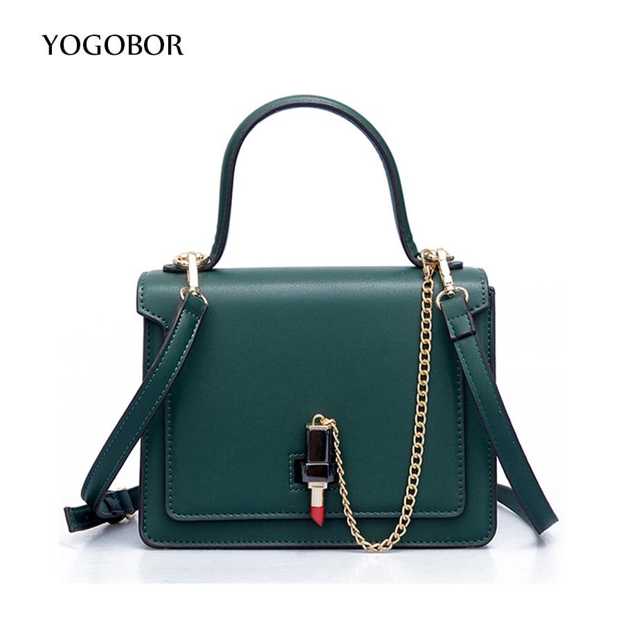 Women leather chain shoulder messenger bags small trunk lipstick Ladies casual cross body handbags black green Bolsas femininas<br><br>Aliexpress
