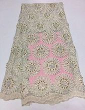 2017 new High Quality African French Lace Fabric Rhinestones Wholesale lace For lace Wedding dress evening lace In yellow 5y