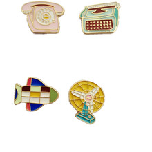 Japan South Korea style retro enamel aircraft / phone / fan women brooches cute jacket collar pin jewelry drops oil badges pins