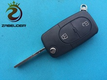 ZABEUDEIR 1pcs New Replacement Key Case For VW Passat Golf Bora 2 Buttons Remote flip Key FOB shell For car key uncut key blade(China)