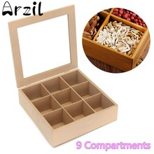 9 Slots Wooden Tea Box Essential Oil Bottles Storage Box Hinged Glass Lid Sundries Organizer Holder Container Pine Wood Square