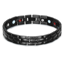 HIP Men's Health Magnetic Bracelet Negative Ion And Far Infrared Ray 22CM Black Hematite Bio Energy Bracelet For Men Jewelry(China)