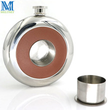 Round Stainless Steel Pocket Flask With Build-in Shot Glass 5Oz Hip Flask Mirror Polished Mini Alcohol Bottles