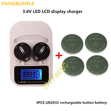1PCS charger+4PCSLIR2032 button battery , battery rechargeable LIR2032 LIR2025 LIR2016 3.6V , LED battery charger display, USB i(China)