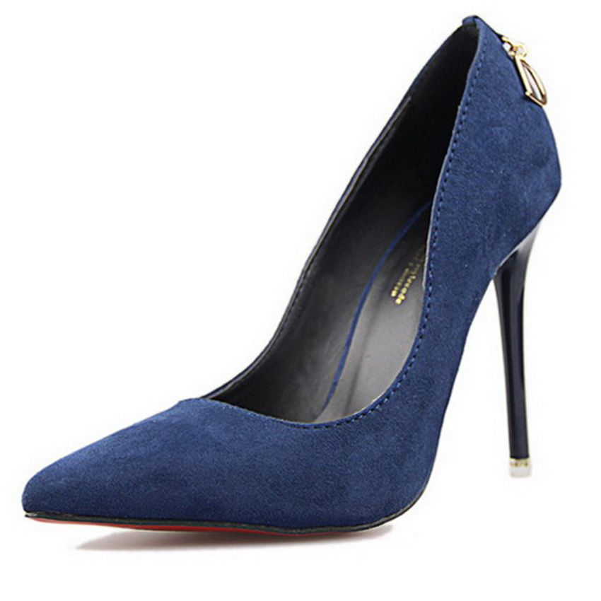 Free Shipping High Heels Shoes Woman Fashhion Slip -on Pointed Toe office Ladies Shoes Shallow Suede  women Shoes Pumps 39 TXJ<br><br>Aliexpress