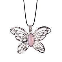 Natural Stone Dream Butterfly Pink Girl Heart Necklace Pendant Stainless Steel Exaggerated Style Spring With Woman Gift Jewelery