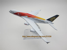 16cm Metal Colorful Air Singapore Airlines 50th Anniversary Airbus 380 A380 Plane Model Aircraft Airways Airplane Model w Stand