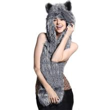 2017 Winter Animal Hooded Poncho 3 In 1 Women Faux Animal Fur Hat Fluffy Scarf Shawl Pocket Plush Ladies Hat Scarves Gloves Warm(China)