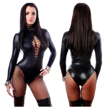 Buy Plus size Sexy Womens Costumes Latex Catsuit PU Patent Leather Jumpsuit Exotic Lingerie Bodysuit Leotard Clubwear PVC costume PJ