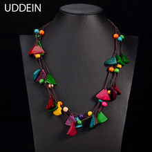 UDDEIN New design bohemian necklace vintage statement bib collares handmade multi layer wood jewelry online shopping india maxi(China)