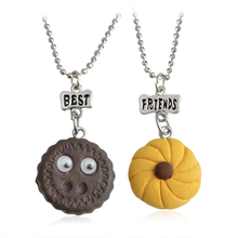 "2pcs/set Chocolate Biscuits cookies Pendant Necklaces For Women ""Best Friends"" Letters Removable Eyes Chain Friendship Jewelry"