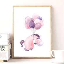 Cute Hippo Print Pictures Baby Room Wall Decoration , Watercolor Cartoon Animal Hippo With Balloon Nursery Canvas Art Painting