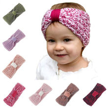 Naturalwell Crochet Headband Pattern little girl Ear Warmer Turban Ear Winter Knitted Headwear Kids Hairband Headwrap HB198D(China)