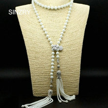 Exclusive design SINZRY jewelry AAA cubic zircon micro paved white color simulated pearl tassel long necklaces for women