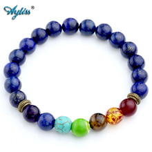 Buy Ayliss New Hot Natural Dyed Lapis Lazuli Stone Beads 7 Chakra Healing Balance Bracelete Feminino Lava Yoga Reiki Prayer 8mm Bead for $4.23 in AliExpress store