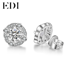 EDI Forever Brilliant 0.5CT Round Cut Moissanite Diamond Stud Earrings For Women 14K 585 White Gold Wedding Fine Jewelry Gifts(China)