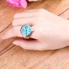 Creative Women Fashion Lady Girl Steel Round Elastic Quartz Finger Ring with-watch Watch 1NHE