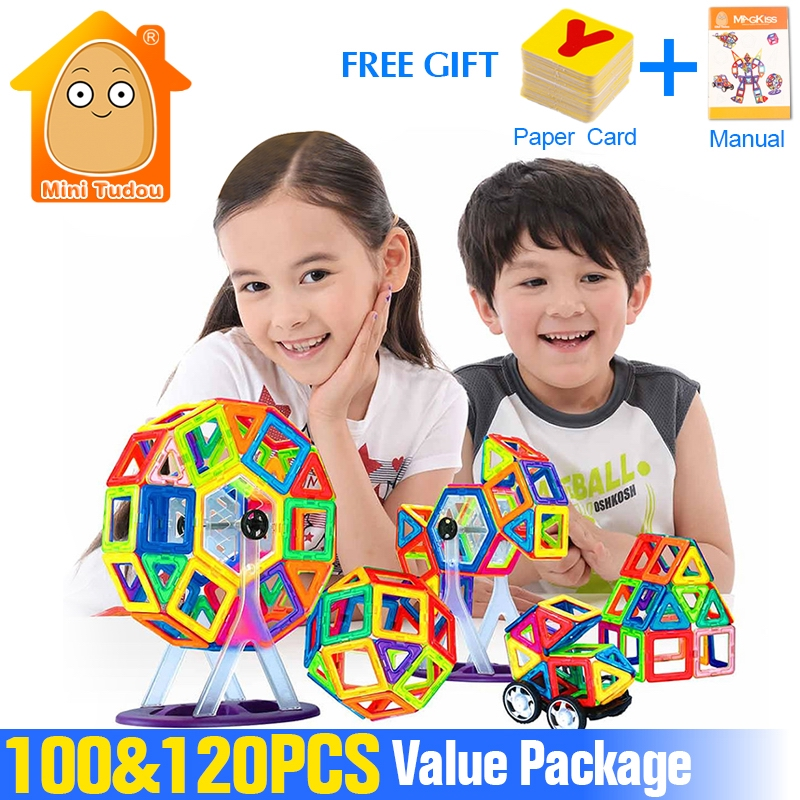 Minitudou 100-120PCS Magnetic Constructor Building Blocks Designer Bricks DIY Childrens Educational Toys Scale Models <br>