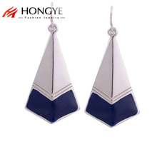Vintage Jewelry Ethnic Gold/silver Color Alloy Enamel Geometric Triangle Chunky Statement Dangle Earrings for Women Brincos(China)