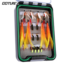 16pcs Fly Fishing Flies Kit Dry/Wet Flies, Nymph and Streamer Hook #10/#12 Waterproof Pocketed Fly Box for Trout Fishing(China)