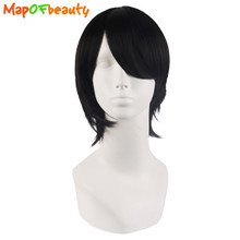 MapofBeauty Short straight Nautral cosplay wigs black Naruto Uchiha Sasuke Heat Resistant Synthetic hair Free shipping peruca