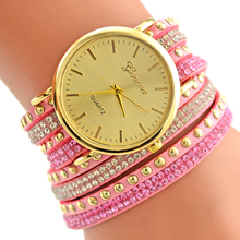 2016 hot fashion style Geneva watch South Korea velvet set auger lady around rivets bracelet Watch nice Look watches(China)