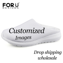 FORUDESIGNS Custom Images or Logo Men Sandals Summer Air Mesh Slip-on Shoes Breathable(China)