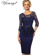 Vfemage Women Vintage Ladylike Sexy Lace top 3/4 Sleeve O-Neck Peplum Tunic Bodycon Women Wear to Work Office Pencil Dress 4909(China)