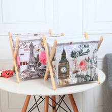 ROSEHOME Wooden Storage Basket Newspaper Magazine Rack Jewelry Holder Folding Waterproof Canvas Clothes Toys Books Organizer(China)